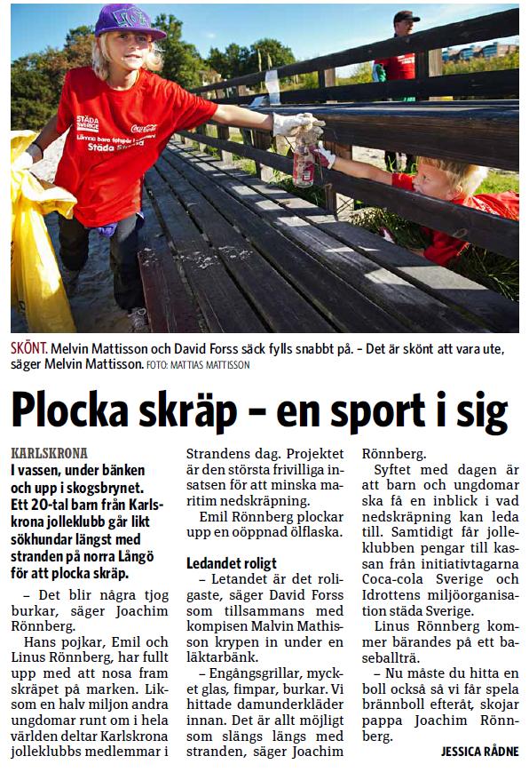 Plocka skräp - En sport i sig, Sydöstran 2013-09-23