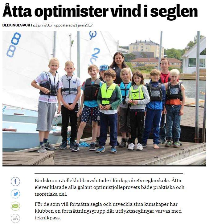 Tidningsklipp, Blekingesporten 2017-06-21