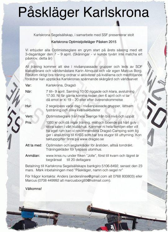 Inbjudan till påskläger 2015 - Karlskrona Segelsällskap